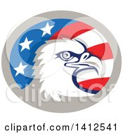 Clipart Of A Retro Bald Eagle Head In An American Themed Oval Royalty Free Vector Illustration