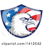 Clipart Of A Retro Bald Eagle Head In An American Themed Shield Royalty Free Vector Illustration