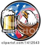 Clipart Of A Retro Bald Eagle Toasting With Beer In An American Flag Circle Royalty Free Vector Illustration by patrimonio