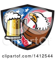 Clipart Of A Retro Bald Eagle Toasting With Beer In An American Flag Shield Royalty Free Vector Illustration