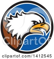 Clipart Of A Cartoon Angry Bald Eagle Head In A Blue Black And White Circle Royalty Free Vector Illustration