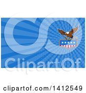 Bald Eagle Flying With An American Flag And Towing J Hook And Blue Rays Background Or Business Card Design