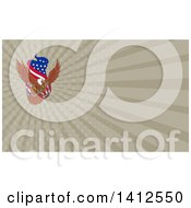 Clipart Of A Sketched Bald Eagle Flying With An American Flag And Towing J Hook And Rays Background Or Business Card Design Royalty Free Illustration by patrimonio