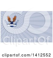 Clipart Of A Retro Swooping Orange And Blue Bald Eagle Grasping A Blank Ribbon Banner And Rays Background Or Business Card Design Royalty Free Illustration