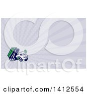Clipart Of A Cartoon Dump Truck Mascot Waving And Rays Background Or Business Card Design Royalty Free Illustration by patrimonio