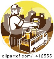 Clipart Of A Retro Male Bartender Putting A Beer On Top Of A Brew Tour Van In A Cityscape Circle Royalty Free Vector Illustration