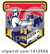 Clipart Of A Retro Male Bartender Putting A Beer On Top Of A Brew Tour Van In A Cityscape Crest Royalty Free Vector Illustration