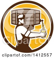 Clipart Of A Retro Male Bartender Pouring A Glass Of Beer From A Keg In A Brown White And Orange Circle Royalty Free Vector Illustration