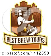 Clipart Of A Retro Male Bartender Putting A Beer On Top Of A Brew Tour Van In A Cityscape Crest Royalty Free Vector Illustration by patrimonio