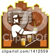 Clipart Of A Retro Male Bartender Pouring Different Types Of Beer From A Keg Against A City Skyline Royalty Free Vector Illustration