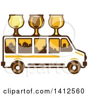 Clipart Of A Retro Brew Tour Bus With Glasses On The Roof And A City Skyline In The Windows Royalty Free Vector Illustration