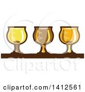 Clipart Of A Retro Row Of Light Dark And Ale Beer Glasses Royalty Free Vector Illustration