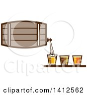 Clipart Of A Retro Beer Keg Barrel Pouring Light Dark And Ale Into Glasses Royalty Free Vector Illustration