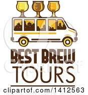Clipart Of A Retro Brew Tour Bus With Glasses On The Roof And A City Skyline In The Windows Over Text Royalty Free Vector Illustration