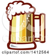 Clipart Of A Retro Beer Stein Mug With Foam Royalty Free Vector Illustration