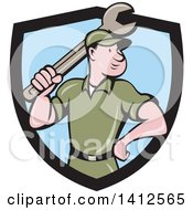 Retro Cartoon White Handy Man Or Mechanic Standing And Holding A Spanner Wrench In A Black And Blue Shield