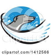 Clipart Of A Retro Greyhound Dog Head With A Splash Of Water In A Blue Oval Royalty Free Vector Illustration