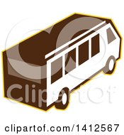 Clipart Of A High Angle View Of A Retro Van Outlined In Yellow Royalty Free Vector Illustration