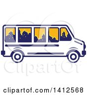 Clipart Of A Retro Blue And White Tour Bus With A City Skyline In The Windows Royalty Free Vector Illustration