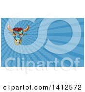 Clipart Of A Colorful Mosaic Angry Bull With A Ring And Blue Rays Background Or Business Card Design Royalty Free Illustration
