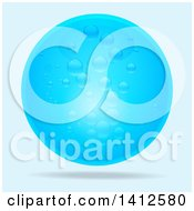 Clipart Of A 3d Blue Water Bubble Floating On A Gradient Background Royalty Free Vector Illustration