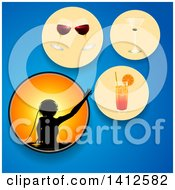 Clipart Of A Silhouetted Female Dj And Circles With Different Alcoholic Beverages On Blue Royalty Free Vector Illustration by elaineitalia