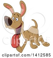 Clipart Of A Cartoon Happy Brown Dog Walking Or Running And Panting Royalty Free Vector Illustration