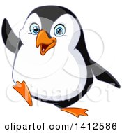 Clipart Of A Cartoon Happy Penguin Waving Royalty Free Vector Illustration