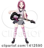 Clipart Of A Pink Haired Punk Rocker Asian Girl With An Electric Guitar Royalty Free Vector Illustration