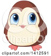 Clipart Of A Cute Baby Penguin With Big Blue Eyes Royalty Free Vector Illustration