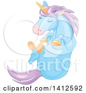 Clipart Of A Cute Blue And Purple Unicorn Sleeping Royalty Free Vector Illustration by Pushkin