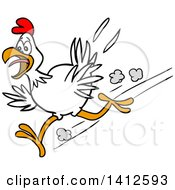 Clipart Of A Cartoon Chicken Running Scared Royalty Free Vector Illustration