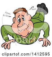 Clipart Of A Cartoon White Male Soldier Sweating And Doing Pushups Royalty Free Vector Illustration