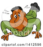 Clipart Of A Cartoon Black Male Soldier Sweating And Doing Pushups Royalty Free Vector Illustration