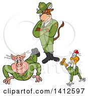 Cartoon Cow Standing Over A Pig And Chicken Soldiers Doing Pushups