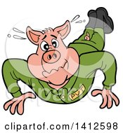 Clipart Of A Cartoon Pig Soldier Doing Pushups Royalty Free Vector Illustration by LaffToon