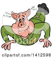 Cartoon Pig Soldier Doing Pushups
