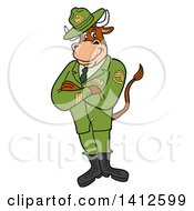 Clipart Of A Cartoon Sergeant Bull Standing With Folded Arms Royalty Free Vector Illustration by LaffToon