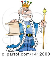 Cartoon Caucasian King Holding A Staff And A Scroll Notice
