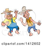 Clipart Of Cartoon Hillbilly Pigs Fighting Royalty Free Vector Illustration