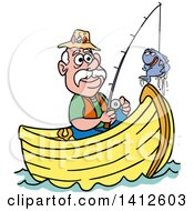 Cartoon Caucasian Man Fishing In A Boat And Talking With A Fish