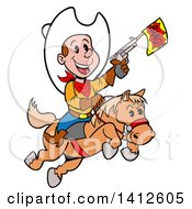 Cartoon Little Cowboy Shooting A Toy Gun And Riding A Horse
