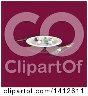 Clipart Of A 3d Plate With Diet Pills And Silverware Royalty Free Illustration