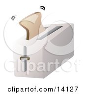Slice Of Bread Toast Popping Out Of A Toaster Food Clipart Illustration