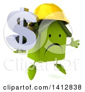 Clipart Of A 3d Green Home Contractor Character On A White Background Royalty Free Illustration