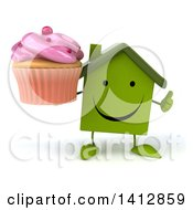 3d Green House Character On A White Background