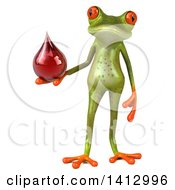 Clipart Of A 3d Green Springer Frog On A White Background Royalty Free Illustration
