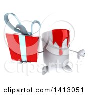 3d Can Of Red Paint Character On A White Background