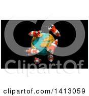 Clipart Of A 3d Earth And Rockets On Black Royalty Free Illustration