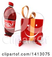 Clipart Of A 3d Red Gift Character Holding A Soda Bottle On A White Background Royalty Free Illustration